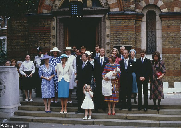 Royals attend the christening of Prince Philippos of Greece in London on July 10 1986. King Constantine and Queen Anne Marie of Greece with their daughter Theodora and Philippos (pictured centre). Prince Diana is seen in the white blazer and blue hat, while Prince Philip is centre right, standing next to the newborn