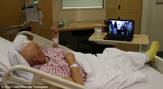 Proud grandma: Last June, Sharon watched a live feed of her eldest grandchild