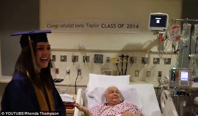 Perfect prank: Taylor Thompson (left) skipped her graduation and surprised her grandmother Sharon Thompson (right), who was in the hospital recovering from brain surgery as she battled cancer