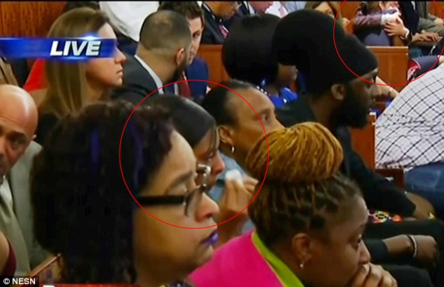 The girlfriend of Odin Lloyd (circled, bottom left) dabbed her eyes with a tissue as she sat across the aisle from her estranged sister and Hernandez